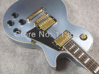 LP Custom Electric Guitar with Flamed Maple Top, Blue Burst
