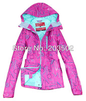 2013 new arrival ONEILL womens pink with letter scrawl waterproof breathable snowboarding jacket ladies sking ski jacket skiwear