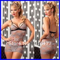 Free shipping Stretch Glamour and Grey Chemise Set 2013 sexy Valentine Lingerie Gift Wholesale 10pcs/lot  Sexy underwear 2968