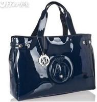 Vogue of new fund of 2013 men paint patent shoulder bag handbag free shipping