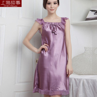 Free shipping Solid color nightgown faux silk sleepwear female summer lounge