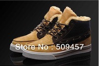 2012 Men's fashion winter sneakers plush wool Skateboard shoes Brand leather leisure high-top outdoor boots black/brown/40-44