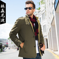 Winter men's clothing outerwear male jacket stand collar business casual medium-long thickening