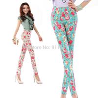 Summer women's print pencil pants slim skinny pants plus size flowers long pants dy-dpnfs