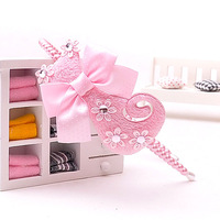 Hair accessory child hair accessory pink super soft cat pearl hair bands