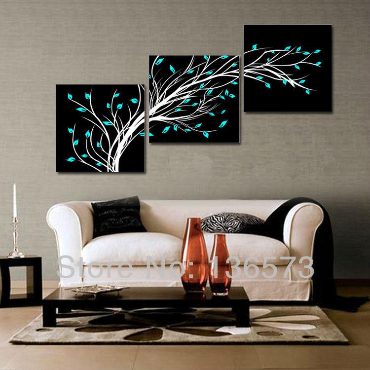 White on Black Canvas Paintings Black White Blue Canvas
