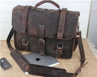 Vintage Top Quality Genuine Leather Cowhide Crazy Horse Leather Men Handbag Shoulder Bag Messenger Bag Backpack For Men 12012