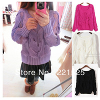 Free shipping!new arriaval 2014 autumn lace crochet patchwork thick twisted cutout knitted pullover sweater