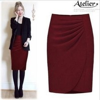 Fashion High Waist Bust Skirt Woolen Mid-calf Excellent Quality OL Skirt Slim Hip Step Skirt