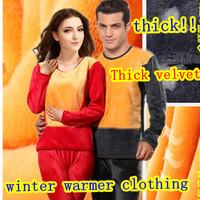 Man and Women Winter Thermal underwear thickening plus velvet comfortable ultrafine wool warm underwear set Free Shipping