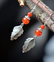 National trend vintage accessories tibetan jewelry tibetan silver drop earring red agate earrings mn055