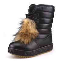 2013 winter cotton genuine leather female child boots ankle boots  cotton-padded shoes girl warm snow boots leather rabbit fur