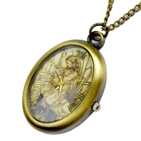Vintage oval shape quartz small pocket watch bronze color table reminisced fashion girl pocket watch personality pocket watch