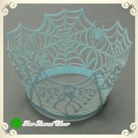 Free Shipping 200pcs/ lot Blue Cobweb Laser cupcake wrappers,Wedding cupcake wrappers,cupcake packaging,Wedding cupcake toppers