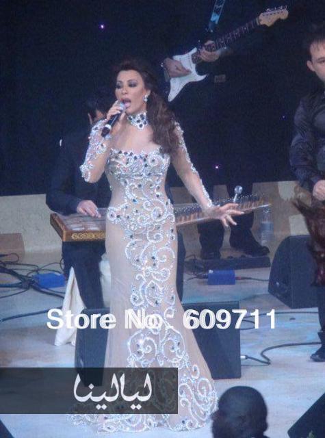 Fashion Najwa Karam Long Sleeve Heavy Beadings Tulle Evening Celebrity