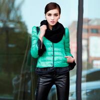 Winter women's 2013 short design formal slim o-neck ruffle sleeve down coat female  Free Shipping
