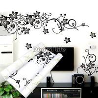 High Quality Wall Decal DIY Decoration Fashion Romantic Flower Wall Sticker Home Sticker Black 6459
