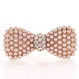 F075 accessories pearl bow hairpin hair pin crystal clip hair accessory gripper hair accessory(China (Mainland))