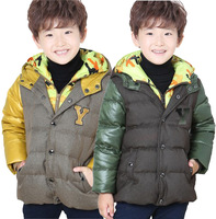 free shipping size120-160 boy teenager 90% goose down jacket winter coat boy down warm filled sports jacket kid's winter jacket