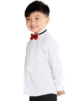 White boys clothing boy child bow tie for boys stand collar white shirt fine cotton long-sleeve shirt white