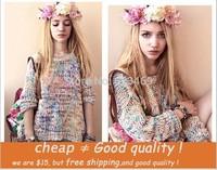 Autumn and winter Women Sweet Gentlewomen Topshop Vintage all-match Rainbow Yarn Jumper Sweater Female