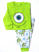 2-7 years children girls boys unisex cartoon monster green pajamas set baby quality clothing wear kids cotton garments