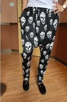 Free shipping! Hot fashion Fashion skull male harem pants personalized decorative pattern pants all-match casual trousers