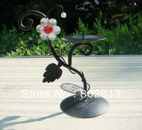 2014 New Arrival Flowers Table  Candle Holder Wedding Christmas Holiday Candlestick Black 2Pcs