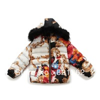 2013 new winter children clothing girls outerwear down parkas printed fur hoodies thick cotton coat 2-8T colors warm