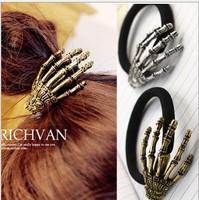 Free Shipping Claaic New Punk Skeleton Paw Skull Hair Ring Hair rope Hair Accessory Hair Wear Wholesale