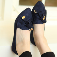 2013 autumn shoes sweet bow pointed toe flat casual shoes fashion flat shoes low heel