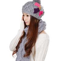 Grey 2013 women's autumn and winter hat scarf set kit 2 piece set 0257 twinset