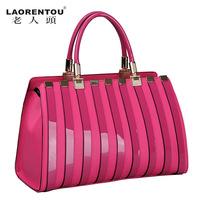 Crocodile women's handbag the trend of fashion stripe high quality cowhide women's portable shaping bag