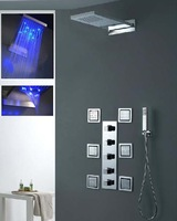 230*554*30mm luxury wall mounted rainfall shower with 4 inches body shower jets led shower with jets