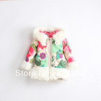 2013 new autumn and winter children clothing girls coat jacket outerwear velvet Sherpa flowers thick warm fashion hooded 2-7T