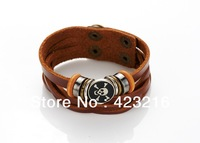 2013 Wrap Leather Braided Rope Bracelet for Men and Women Fashion Leather Jewelry Free Shipping