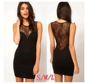 Sexy Women's Lady Crew Neck Sheer Lace Party Night Culbbing Tunic Solid Black Bodycon Mini Dress