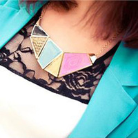 3pcs/lot New exaggerated fashion necklace fake collar geometry vintage alloy enamel pendant necklace  wholesale free shipping