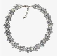 Free Shipping Gold Plated Retro Luxury Rhineston Crystal Simulated Gemston Wreath Bib Choker Necklace Wholesale