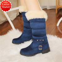 New Luxurious Fur boots Low-heeled Scrub Warm Terry Snow boots Ankle boots Winter women's boots Trophy Plus size Belt buckle