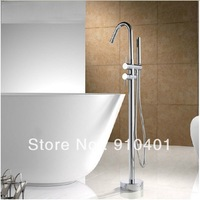 Free Shipping Wholesale And Retail Promotion Floor Standing Bathtub Faucet Chrome Brass Dual Handle With Hand Shower Mixer
