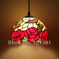 "8""W Tiffany Style Rose Pendant Lamp Small Size Dinning Room Lighting Stained Glass Lampshade Hanging Fixtures Lovely Butterfly"