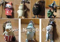 7pcs Cartoon Moomin Valley Snufkin Floren Hippo Figure Strap FSM2,free shipping