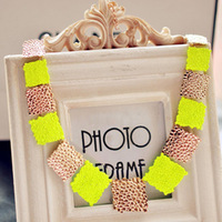 Cheap wholesale fluorescent colors short chain necklace fake collar fashion square alloy chokers for women free shipping