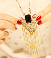 fashion necklace wholesale 100% rhinestone jewelry  inverted triangle flash tassel long necklace sweater chain 10pcs/lot