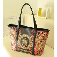free shipping 2013 women's handbag fashion all-match fashion vintage flower color block one shoulder big bag shopping bag