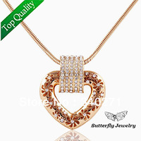 High quality Alloy Fashion Crystal Hollow Flower Heart Pendant Necklace Snake Chain
