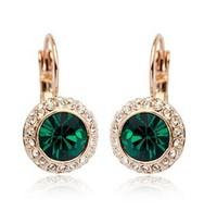Fashion jewelry Green crystal Imitation diamond italina stud earrings for women Valentine's day gift K030