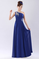 2014 New Arrival Fashion One-shoulder Dresses Long Pattern Sister Sloping Shoulder Evening Dresses Can be Customized Z218