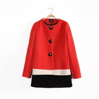 Europe and the United States against the winter color wool collar windbreaker jacket stitching woollen overcoat